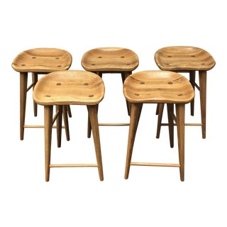 Organic Modernism Oak Stools - Set of 5
