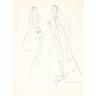 Gibson Bayh Delicate Wedding Dress Fashion Illustrations, Ink and Gouache Drawing, 1950s 1950s For Sale