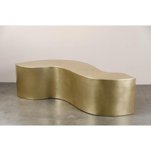 Robert Kuo Hand Repousse Brass Dragon Bench by Robert Kuo, Limited Edition For Sale - Image 4 of 6