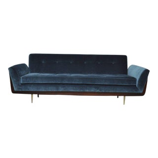 Mid-Century Sofa with Exposed Walnut Frame and Brass Legs