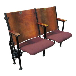 Theater Auditorium Seats From the Great Hall Cooper Union - A Pair For Sale