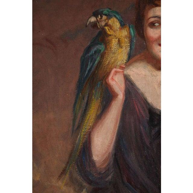 1930s Art Deco Oil on Canvas by Pierre Mitiffiot De Bélair For Sale - Image 5 of 9