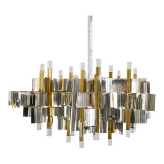 1970s Brass, Chrome and Lucite Chandelier by Gaetano Sciolari, Italy, Circa 1970 For Sale