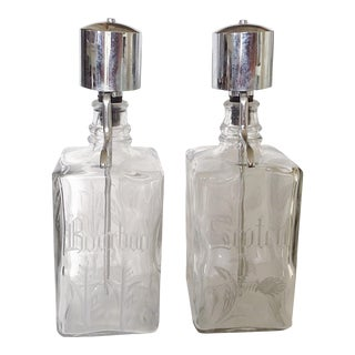 Etched Glass Liquor Dispensers - A Pair For Sale