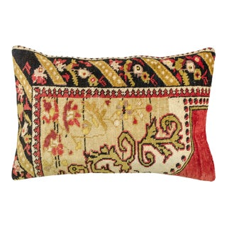 Moroccan Flat Weave Vintage Fabric Lumbar Pillow For Sale
