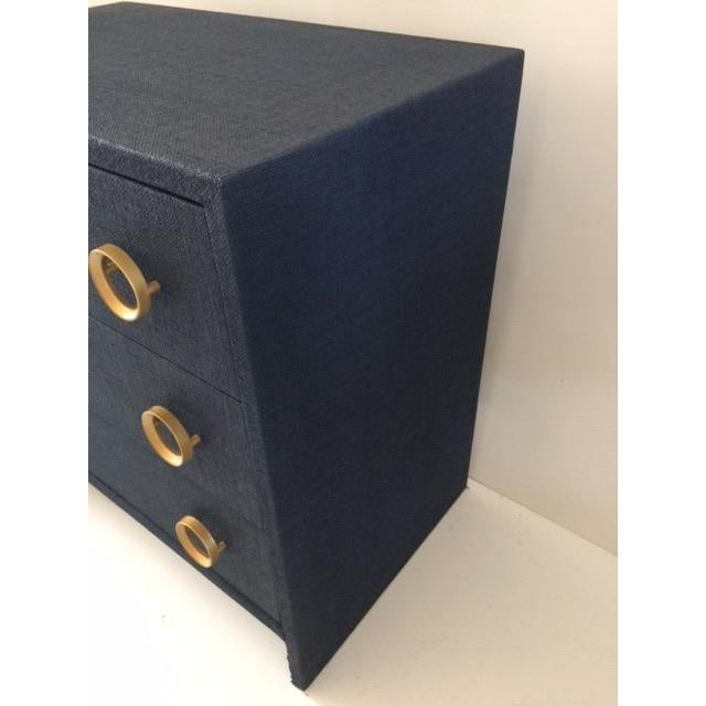 Contemporary Todd Hase Three Drawer Burlap Wrapped Chest For Sale - Image 10 of 13