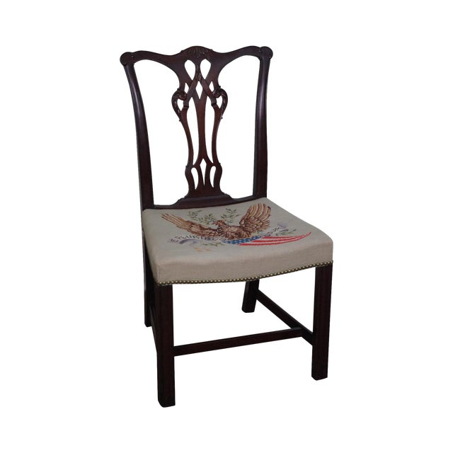 Antique Chippendale Style Eagle Needlepoint Side Chair For Sale