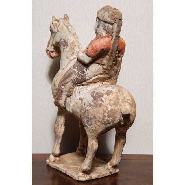 Ceramic 8th Century Tang Dynasty Chinese Terracotta Horse and Rider with Original Paint For Sale - Image 7 of 10