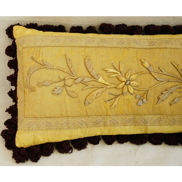 Antique French Silk Embroidered Pillow - Image 4 of 8