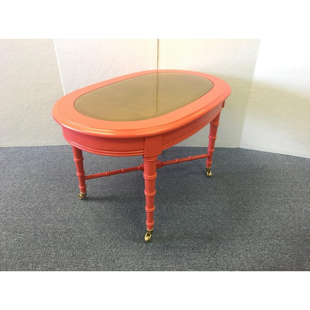 Classic 1960's Oval Faux Bamboo and Cane Regency Revival Table gone Hollywood! Reinvented with with a golden mercury glass...