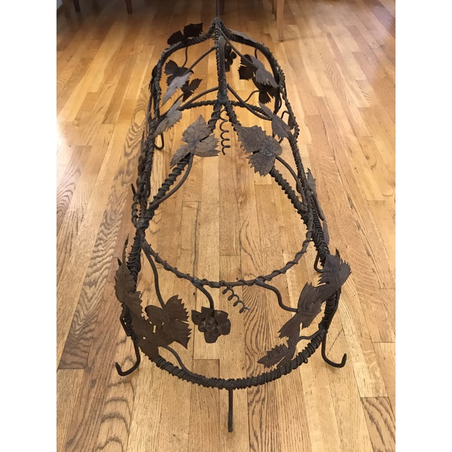 1970s Custom Crafted Enchanting Wrought Iron Grape Vine Pot Rack For Sale In Atlanta - Image 6 of 13