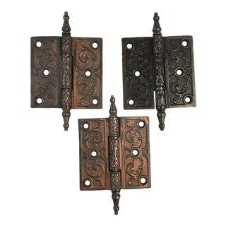 Antique Victorian Eastlake Steeple Tip Door Hinges - Set of 3 For Sale
