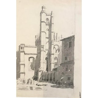 European Gothic Town Cityscape 1920s For Sale