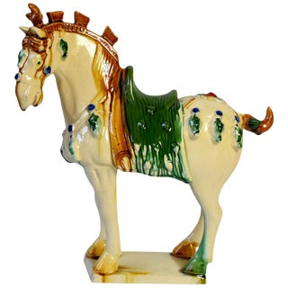 Pottery Horse, Cream With Green Saddle, Chinese San Cai Glaze For Sale