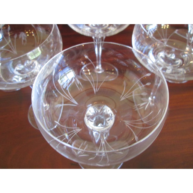 Gorham Jolie Etched Crystal Cocktail Coupes - S/8 For Sale In West Palm - Image 6 of 6