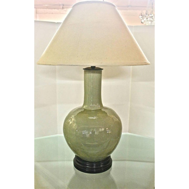 This is a stunning and large Chinese crackle glaze celadon vase that has been fitted with top quality lighting elements by...
