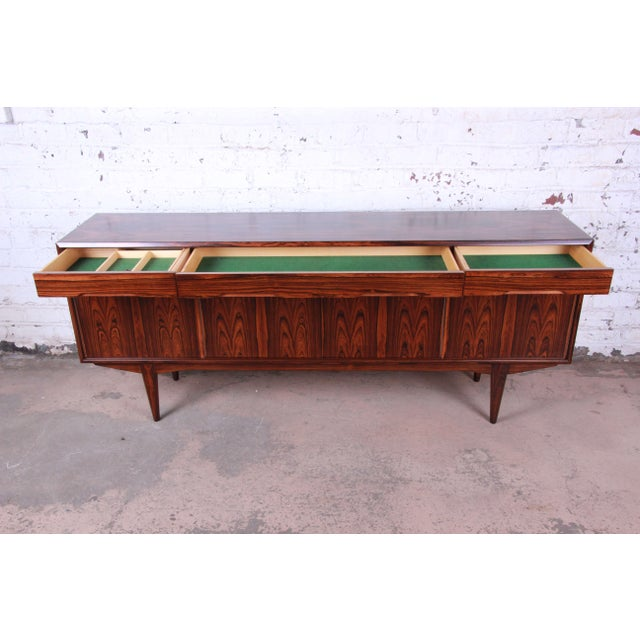 1960s Danish Modern Rosewood Sideboard Credenza, Newly Refinished For Sale - Image 5 of 12