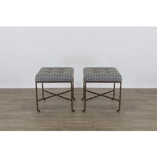 Pair of Mid-Century Metal Benches With Blue Cushions Tops Preview