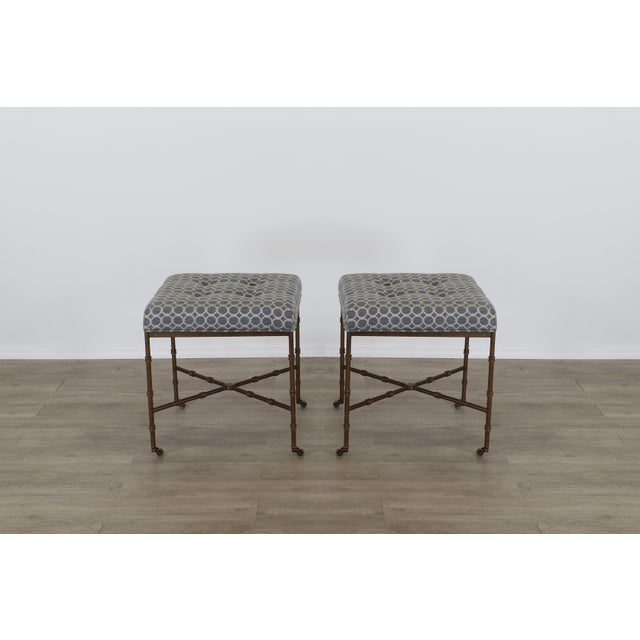 Pair of Mid Century metal gilt benches with beautiful blue brocade cushion tops Solid built in great vintage condition,...