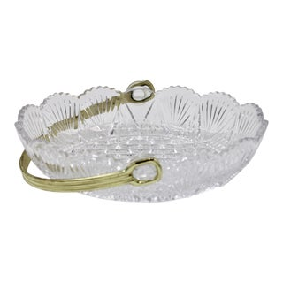Vintage French Crystal Dish For Sale