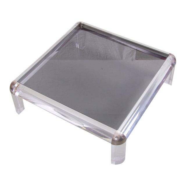 Distinguished Lucite Chrome And Smoked Glass Square Coffee