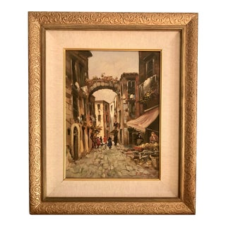 Vintage Italian Oil Painting Street Scene by E. Bianchini For Sale