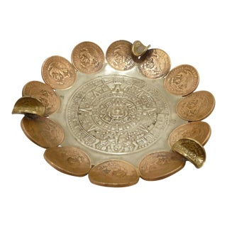 Vintage Brass & Copper Coin Aztec Calendar Ashtray For Sale
