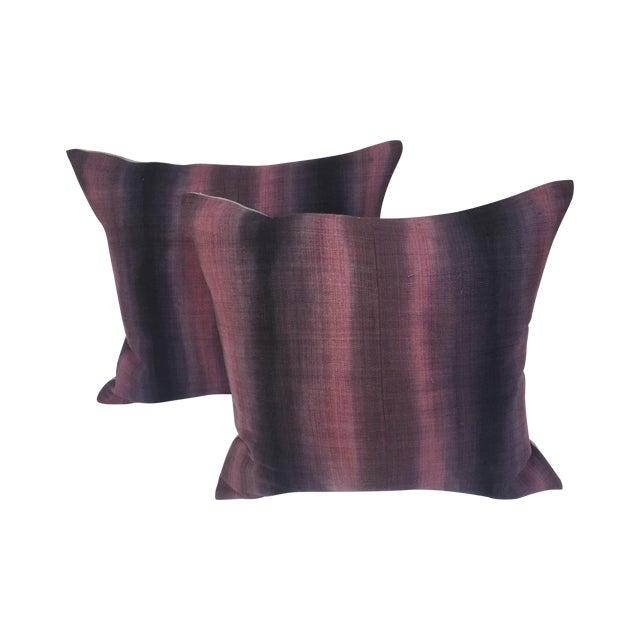 Tie-Dye Woven Thai Linen Pillows - Pair For Sale