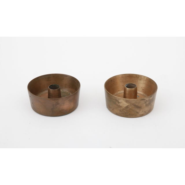 Mid-Century Modern Mid-Century Brass Candle Holders - A Pair For Sale - Image 3 of 4