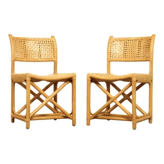 McGuire Laced Rawhide Pair Rattan Chairs For Sale