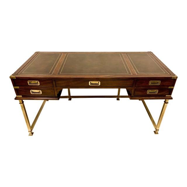 1970s Campaign Style Mahogany & Brass Campaign Desk For Sale