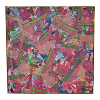Joseph M. Glasco (1925 - 1996) Oil and Collage on Canvas, #34, Dtd 1985 For Sale