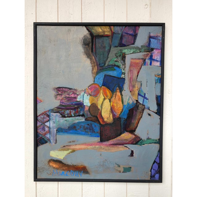 Dove Gray Colorful Vintage Expressionist Abstract Painting on Stretched Canvas by Eric Marconi For Sale - Image 8 of 8