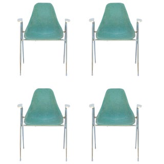 Comfortable Turquoise Fiberglass Armchairs on Chrome Bases - Set of 4 For Sale