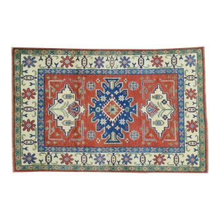 Hand-Knotted Tribal and Geometric Design Kazak Rug- 4′ × 6′2″ For Sale
