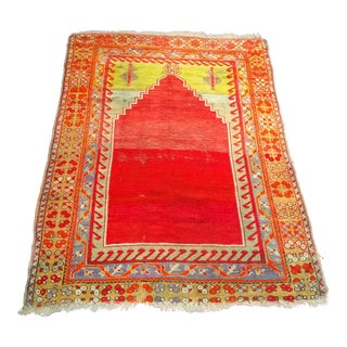 19th Century Turkish Oushak Prayer Rug For Sale