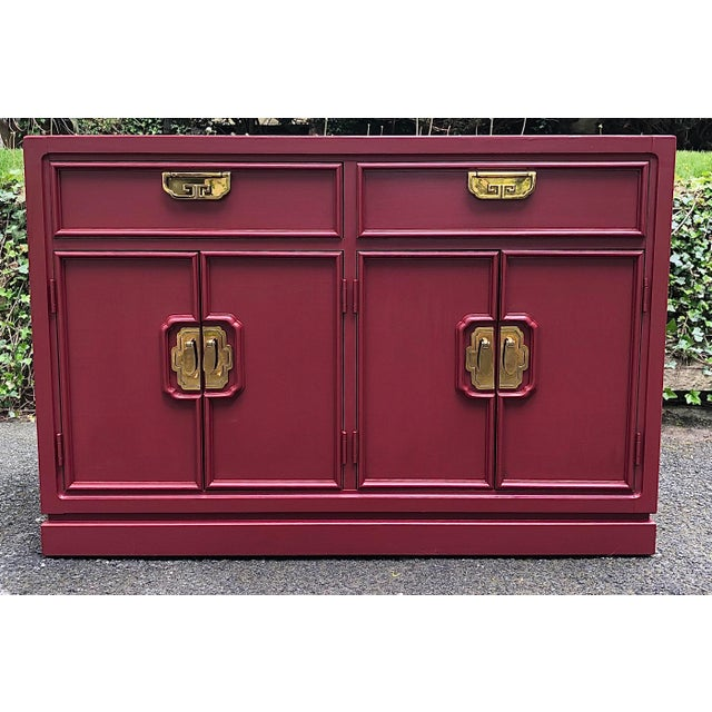 Thomasville two door two drawer server from the Mystique Collection. Redone in a beautiful Cranberry mineral paint, which...