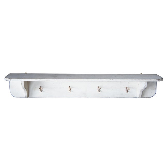 Country 20th Century Country White Oak Wall Mount Hanging Shelf For Sale - Image 3 of 9