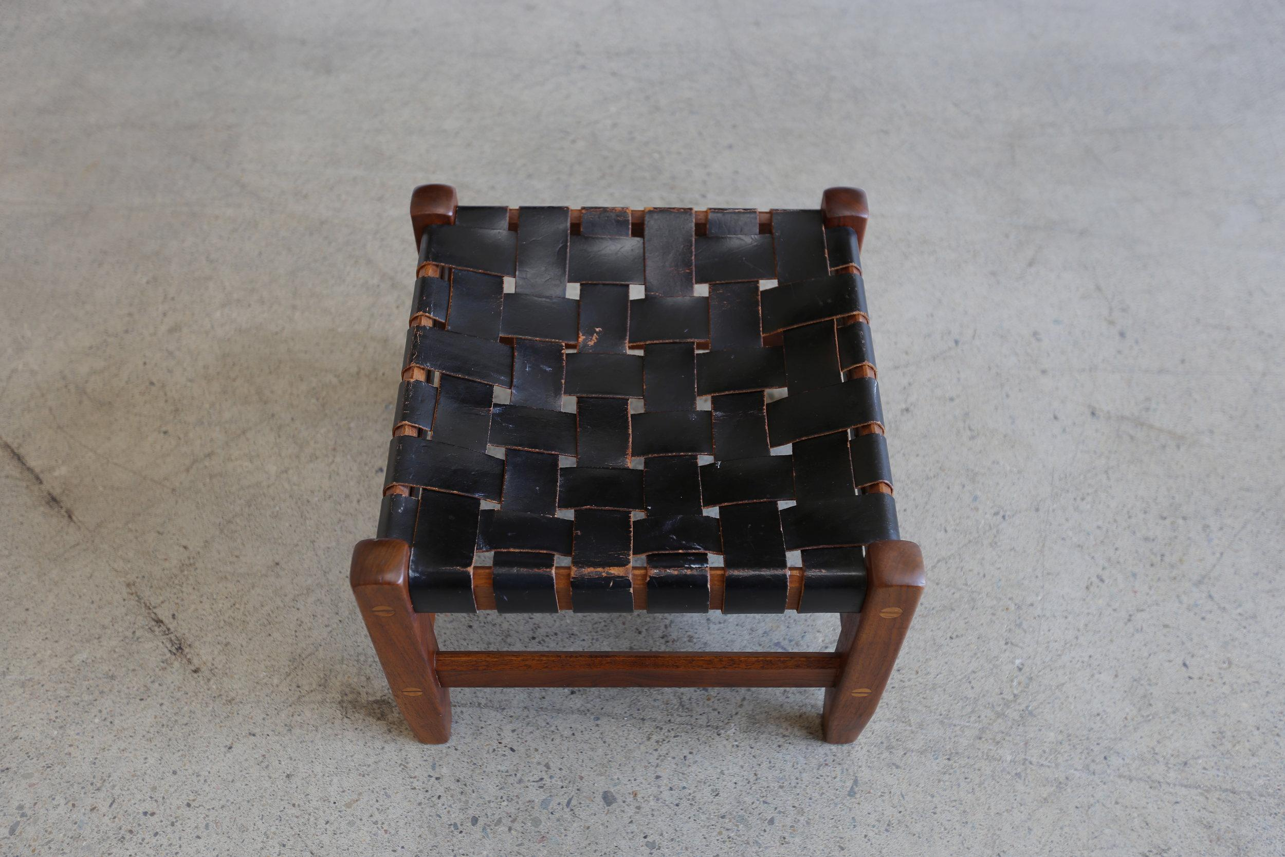 Mid Century Modern Mid Century Modern Black Leather And Walnut Strap Stool  For Sale
