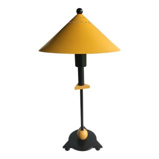 Post Modern 1980s Yellow and Black Table Lamp