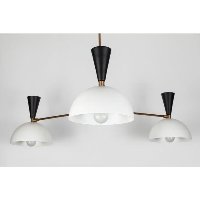 Large Three-Cone 'Lola Ii' Black and White Chandelier For Sale In Los Angeles - Image 6 of 13