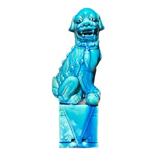 Vintage Turquoise Ceramic Chinese Foo Dog on Pedestal For Sale