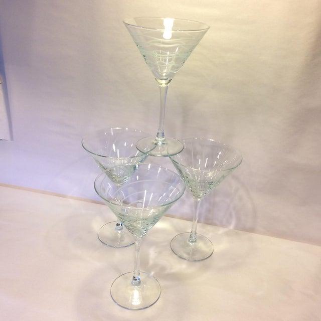Vintage Etched Crystal Martini Glasses - Set of 4 - Image 8 of 11