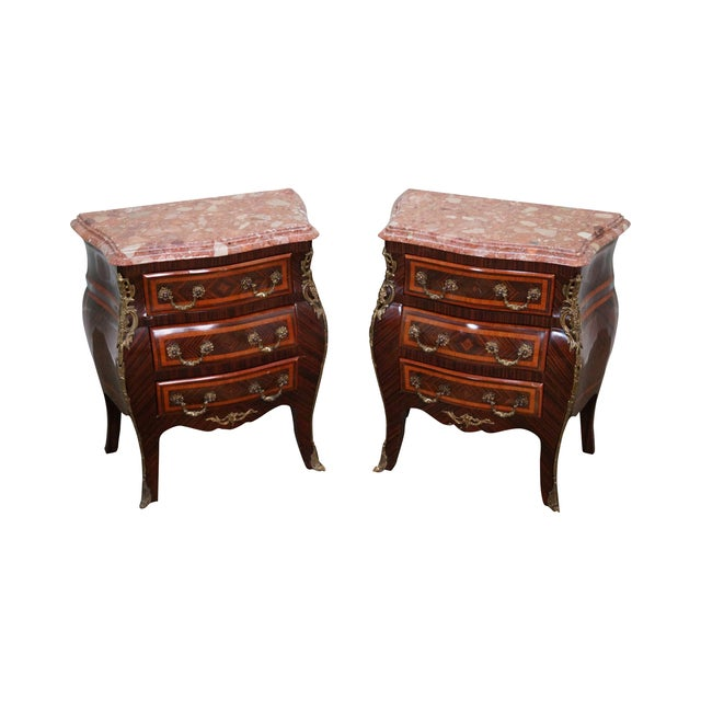 French Louis XV Marble Top Bombe Chests - 2 - Image 1 of 10