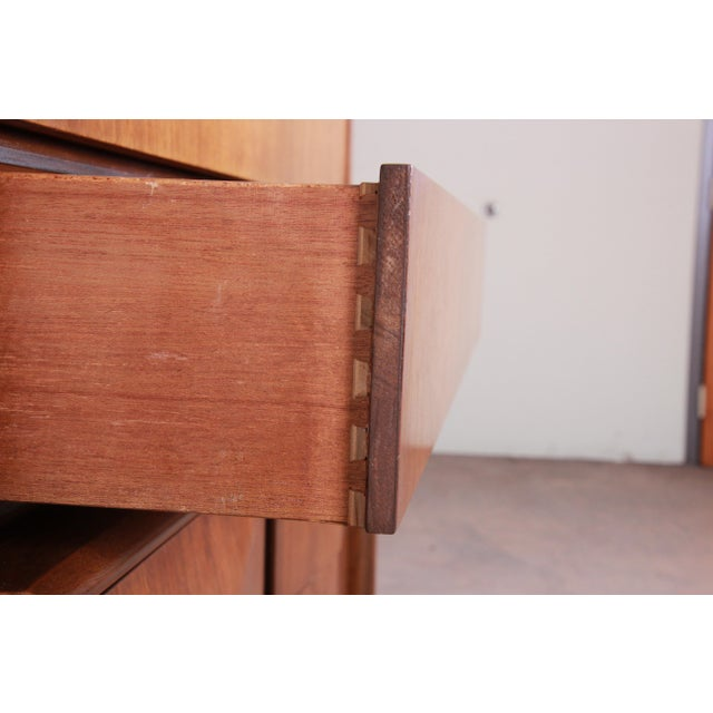 Mid-Century Modern Sculpted Walnut Diamond Front Highboy Dresser by United For Sale - Image 11 of 13
