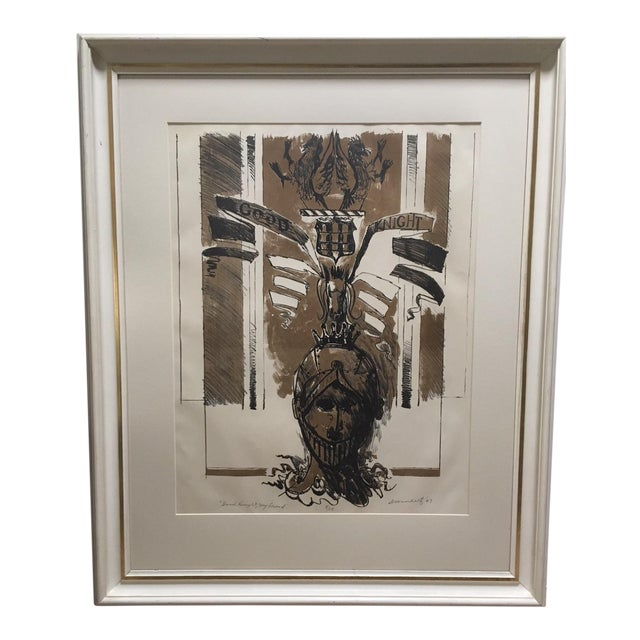 "1967 Vintage W. Dean Warnholtz ""Good Knight, My Friend"" Framed Lithograph Print For Sale"