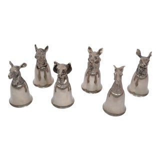 Six Mauro Manetti Silver Plate Animal Heads Stirrup Goblets Cups Made in Italy For Sale