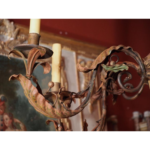 French Antique French Gilt Wood and Iron Chandelier For Sale - Image 3 of 12