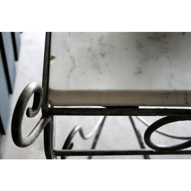 French Scrolled Iron Butcher / Pastry Table With White Marble Top For Sale - Image 12 of 13