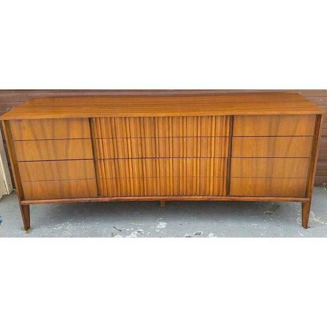Gorgeous Mid Century modern curved long dresser or credenza by Strata for Unagusta A sculptural Mid-Century Modern curved...